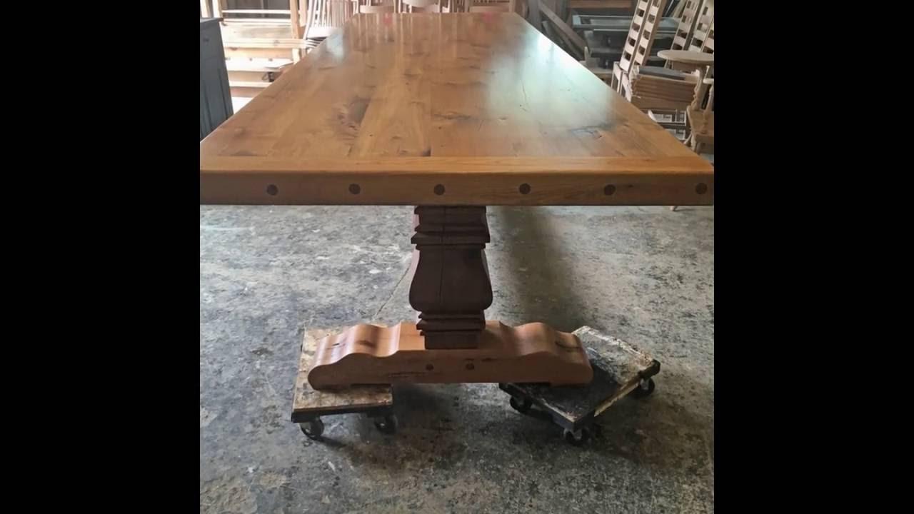 Reclaimed Oak Barn Wood Trestle Table   Large Farm Table