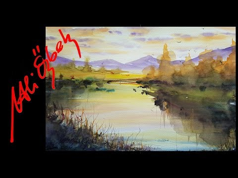 How to paint Riverside Landscape – Watercolor painting demo by Me and Orhan Gürel (long version)
