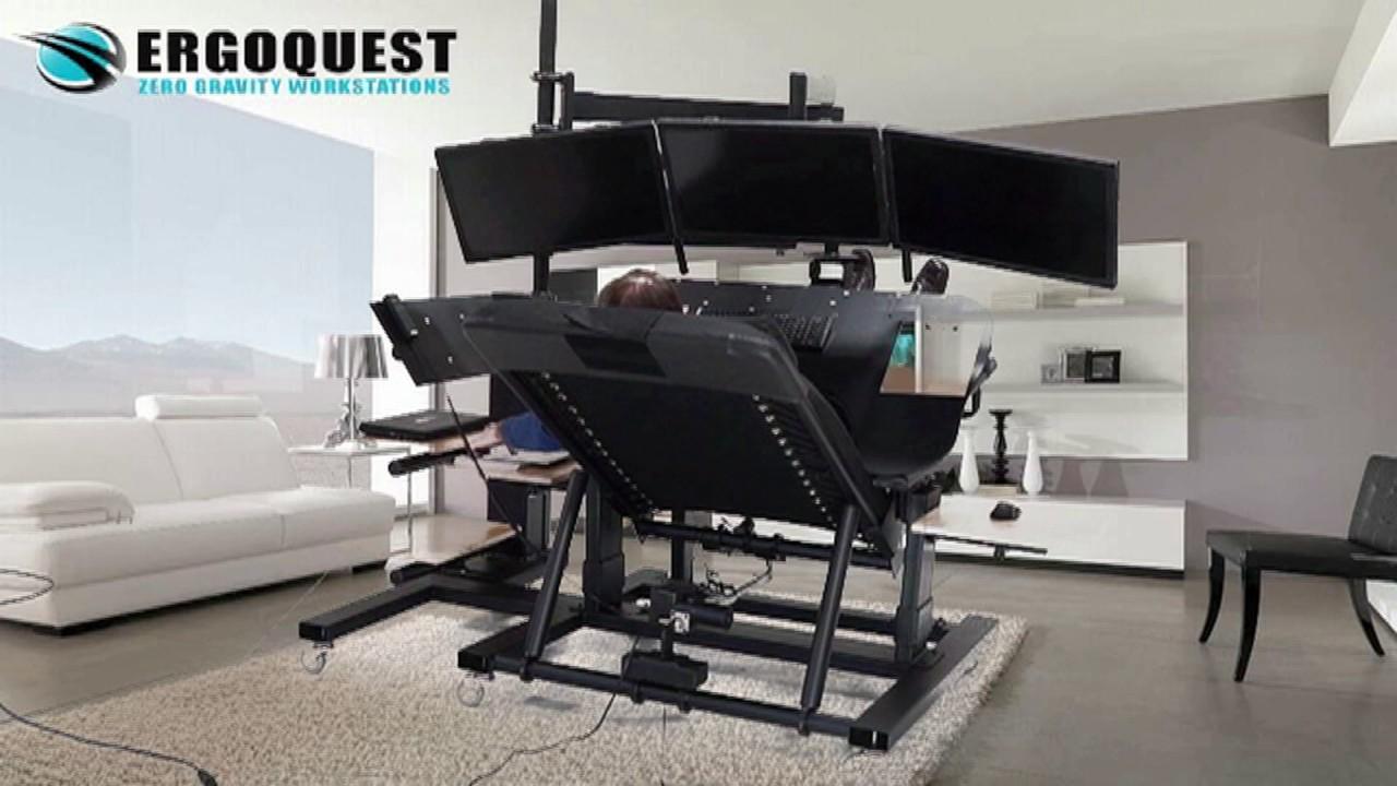 Desk Chair Youtube Step Stool Plans Triple Monitor Zero Gravity Workstation -