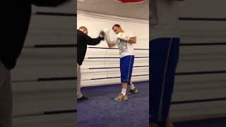 John Fewkes on pads with 57 yr old Dennis Hobson at gym in Sheffield
