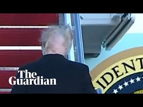 Donald Trump's hair blown apart by the wind
