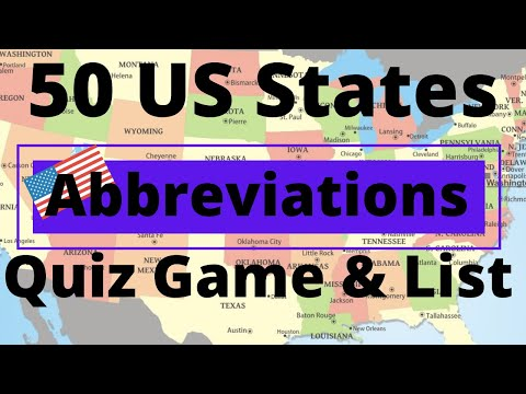 50 US States Abbreviations Quiz Game & List