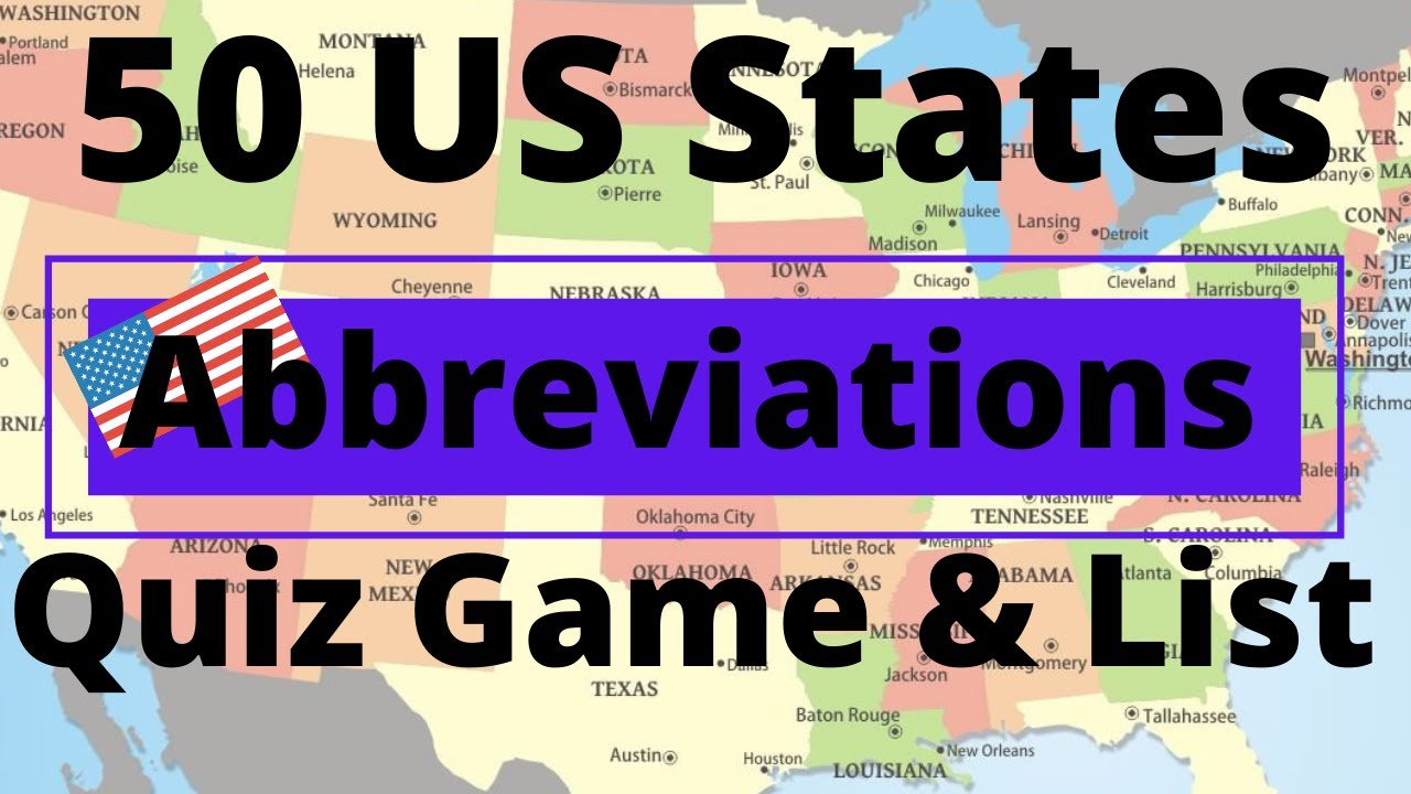 50 US States Abbreviations Quiz Game & List - YouTube