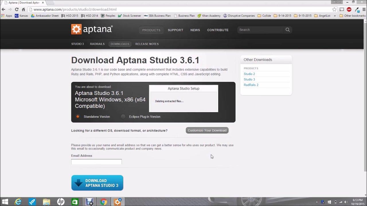 Downloading Aptana For Ruby