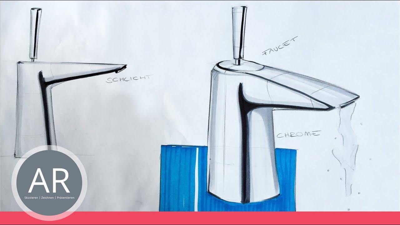 zeichnen lernen armatur skizze tutorial On produktdesign