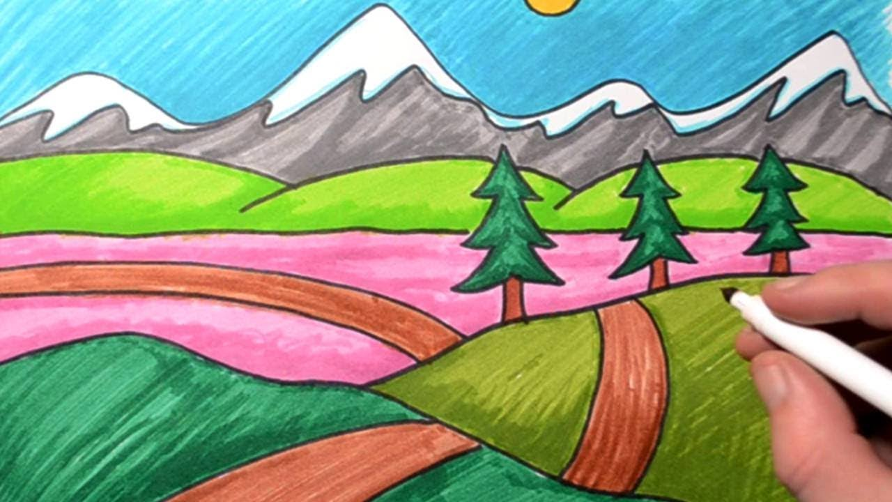 How To Draw A Landscape For Kids Drawing For Beginners Mountain Scenery Youtube