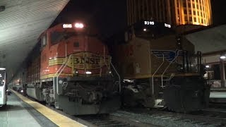 BNSF SD70MAC leads Amtrak Coast Starlight #11 into Los Angeles Union Station