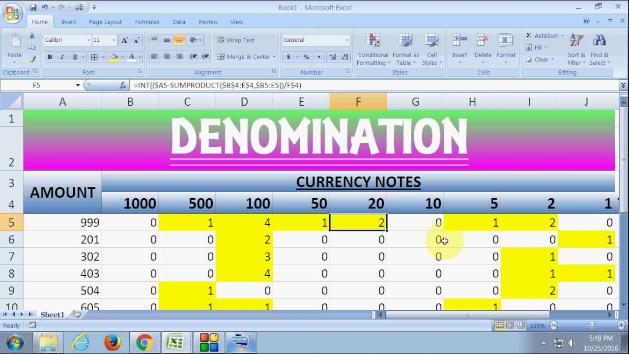 denomination with excel