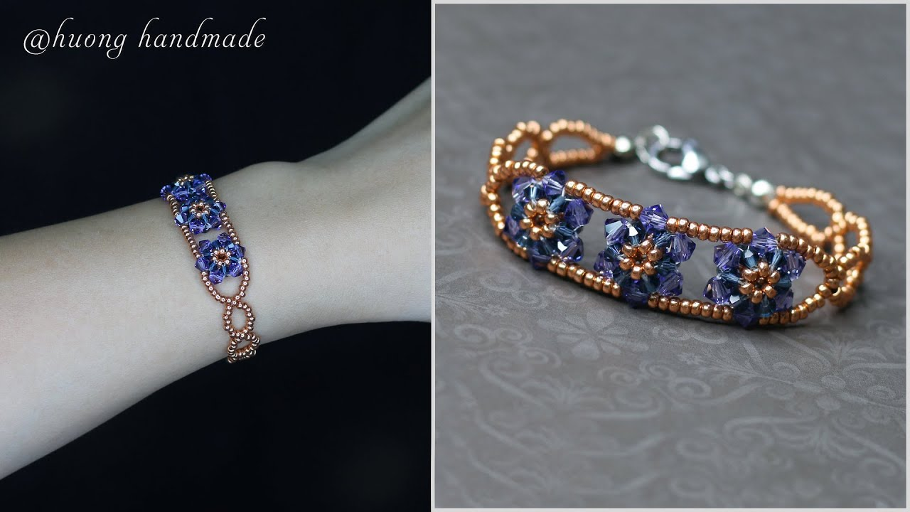 Easy DIY beaded bracelet with bicone crystal beads and seed beads. Beading tutorial