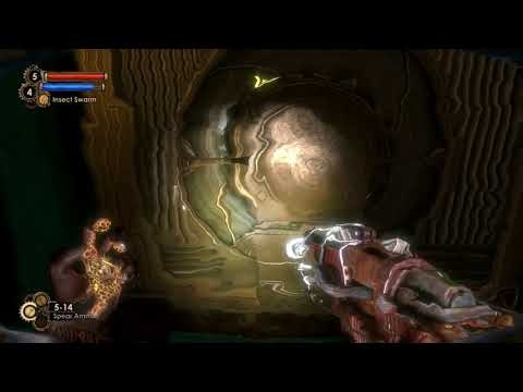 Bioshock gameplay going through flooded chambers of Siren Alley toward Dionesis park