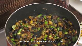 Brinjal Fry Eggplant Dry Curry Recipe Aubergine Indian Food Vegan