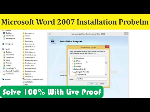 Microsoft Word 2007 Install Problem | Setup Cannot Find | Browse To A Valid Installation Source
