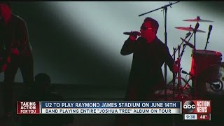 U2 to play Tampa's Raymond James Stadium on June 14th on 'The Joshua Tree 2017' summer tour