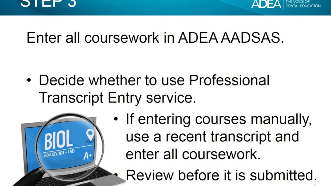 2017 ADEA AADSAS: Transcripts and Coursework - YouTube