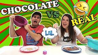 CHOCOLATE FOOD vs REAL FOOD CHALLENGE !!! CHOCOLATE vs REALIDAD  - LOL Retos Divertidos