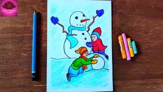 how to draw a snowman with kids fast & easy