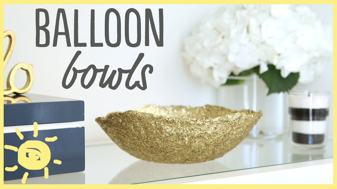 Diy glitter balloon bowl only 2 ingredients youtube for Glitter balloon bowl
