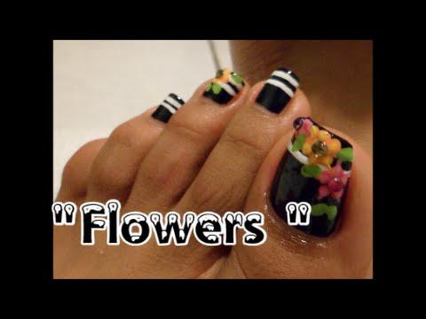 Decoracion Floral Con Negro Para Las Unas De Los Pies Easy Floral Design With Black Toe Nail Art