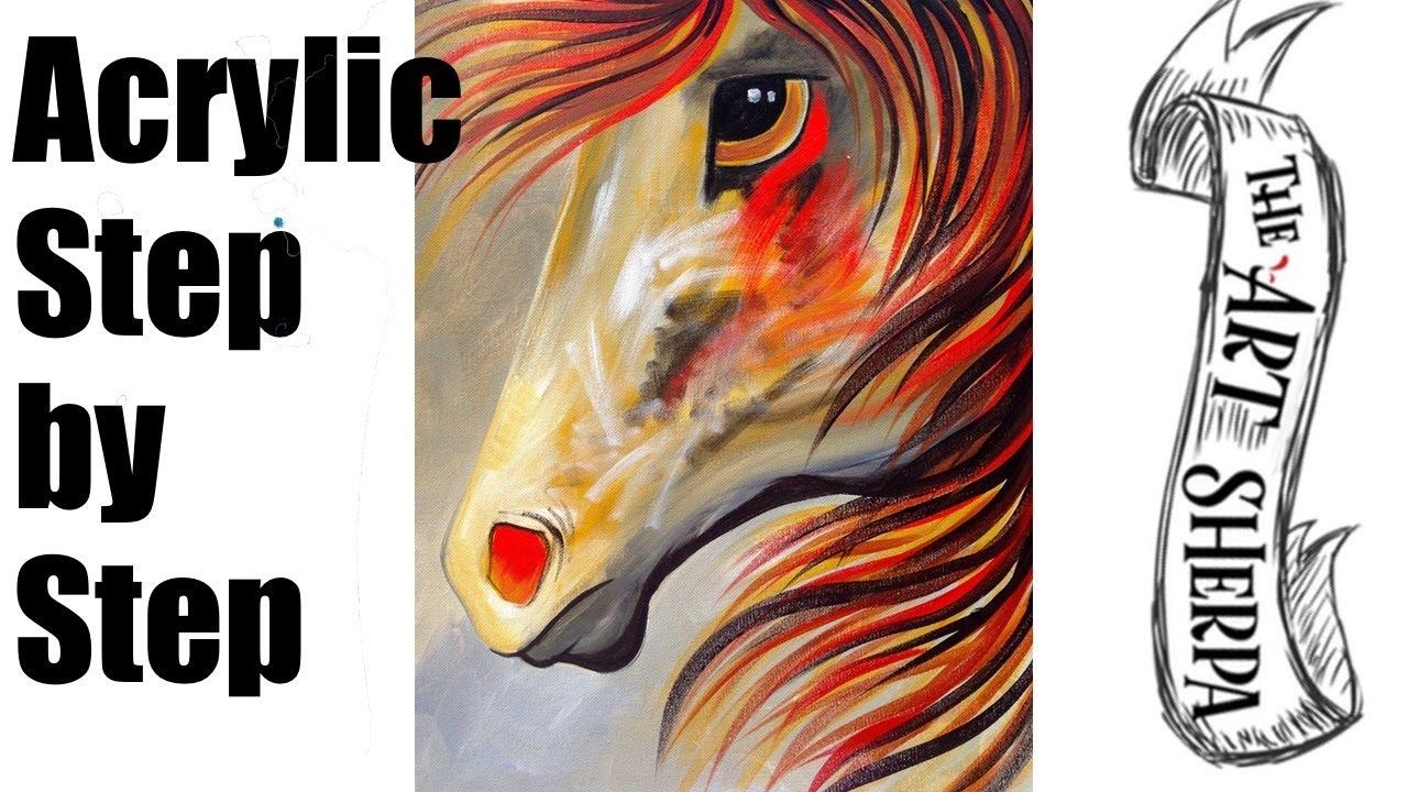 Spirit Horse | Beginning Acrylic Painting Lesson - YouTube