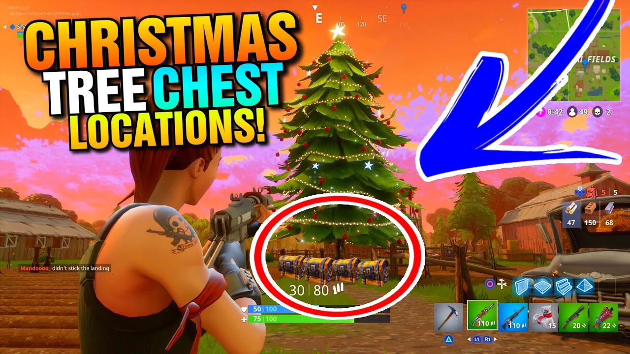 Fortnite Christmas Chest Spawn Locations All Christmas Tree