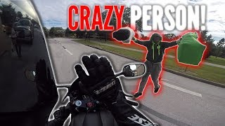 CRAZY PERSON THROWS BAGS AT BIKER! Honking @ People in Public - Motorcycle VS Bad Drivers! RPSTV