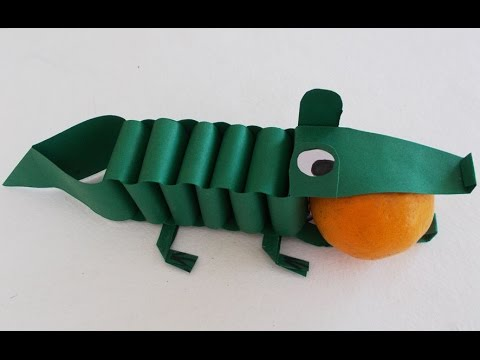 Easy Fun Crafts For Kids Diy Paper Crocodile Tutorial