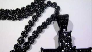 (SOLD)$200 BLACK COMBO! Black Cluster Chain + 2-tone Black/Gray Cross - Lab Made Jewelry