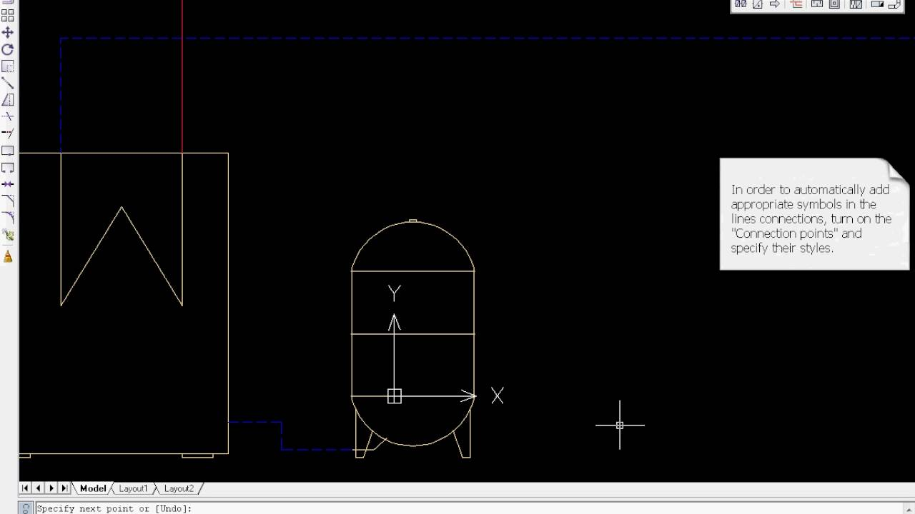 cadprofi hvac piping drawing lines [ 1280 x 720 Pixel ]