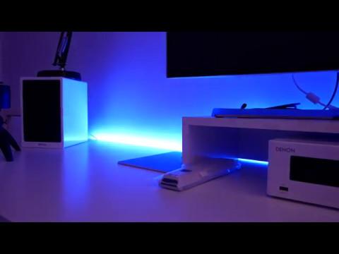 Mesa Despacho Ikea Blanca.Led Light Install On Ikea Desk Instalacion Tira Led En Escritorio Ikea