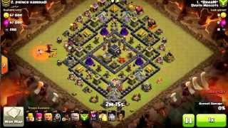 Clash Of Clans {Death Mascots} TH9 STONED GOHOWI ( Earthquake spell)