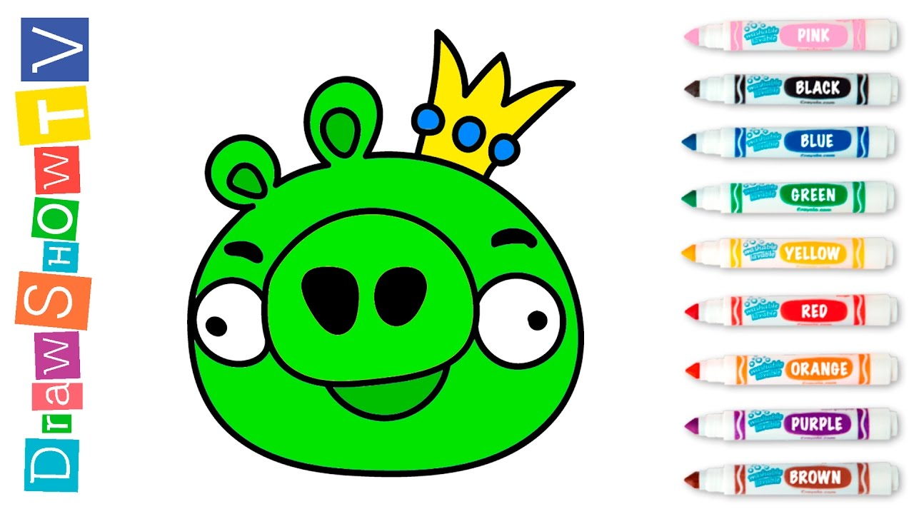 How to Draw Pig King. Bad Piggies Coloring Pages for Kids with ...