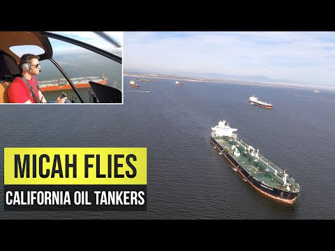 Helicopter View of Oil Tankers | California Coast April 27th 2020