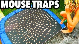 TRAMPOLINE VS MOUSE TRAPS!!!
