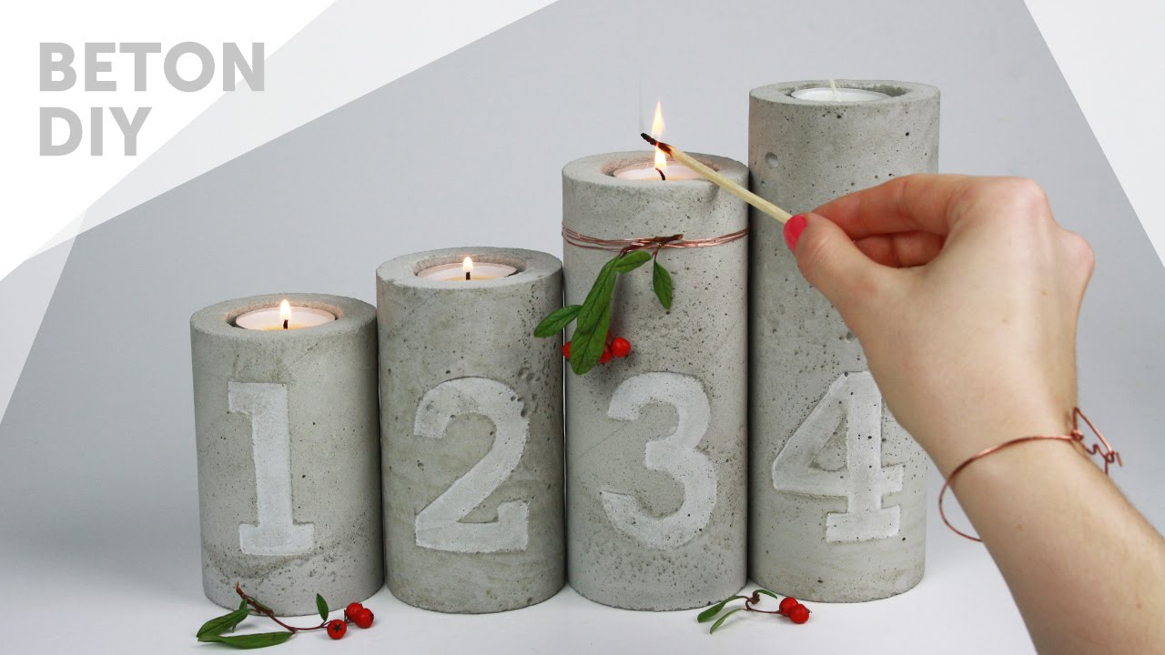 diy beton kerzenst nder mit zahlen pr gung adventskranz concrete candle holders with. Black Bedroom Furniture Sets. Home Design Ideas