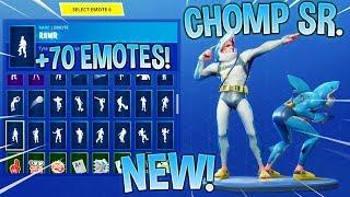 *NEW* CHOMP SR. SHARK SKIN With +70 FORTNITE DANCE EMOTES! (New Skin)