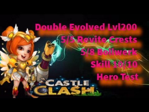 Castle Clash - Hero Test - Lady Boom Double Evolved Lvl200 Skill10/10 - Heartbreaker