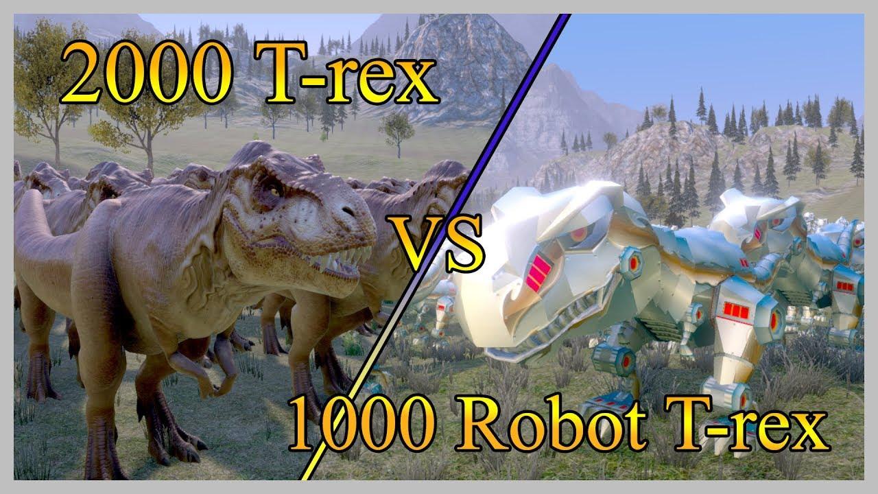 2000 T-rex vs 1 1000 Robotic T-rex - Dinosaurs Battle ...