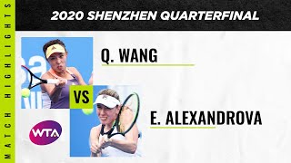Wang Qiang vs. Ekaterina Alexandrova | 2020 Shenzhen Open Quarterfinal | WTA Highlights