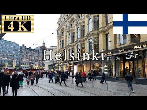 🇫🇮🎄Helsinki Walk 4K 60fps - Aleksanterinkatu in Christmas Season -