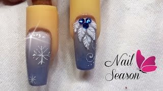 Uñas Navideñas Acrilicas Esculturales Nevado Azul Xmas Nail