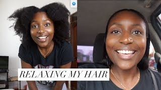 Relaxing my hair after 9 years - Vlog