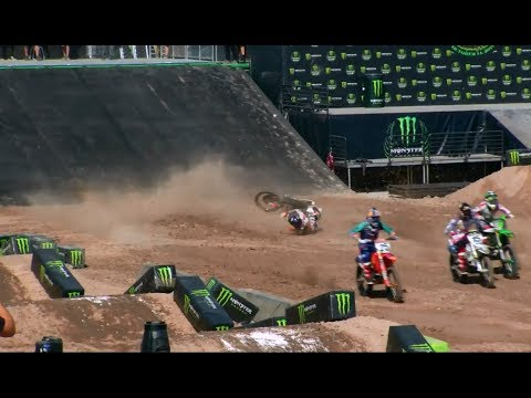 Justin Barcia Crashes On Start Monster Energy Cup 2017