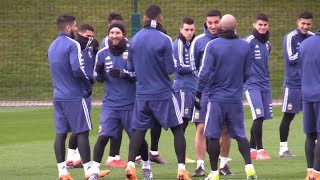 Lionel Messi Trains With Argentina Squad In Manchester
