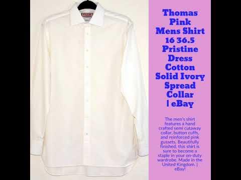 Thomas Pink Mens Shirt 16 36.5 Pristine Dress Cotton Solid Ivory Spread Collar   | eBay