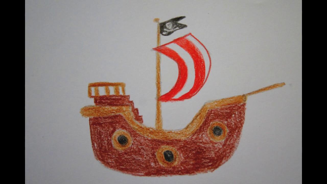 ⛵️ Piratenschiff zeichnen für Kids ☠️ how to draw a Pirate ...