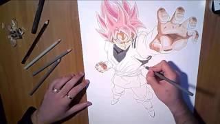 Speed drawing Black Goku SSJ Rose 3D.