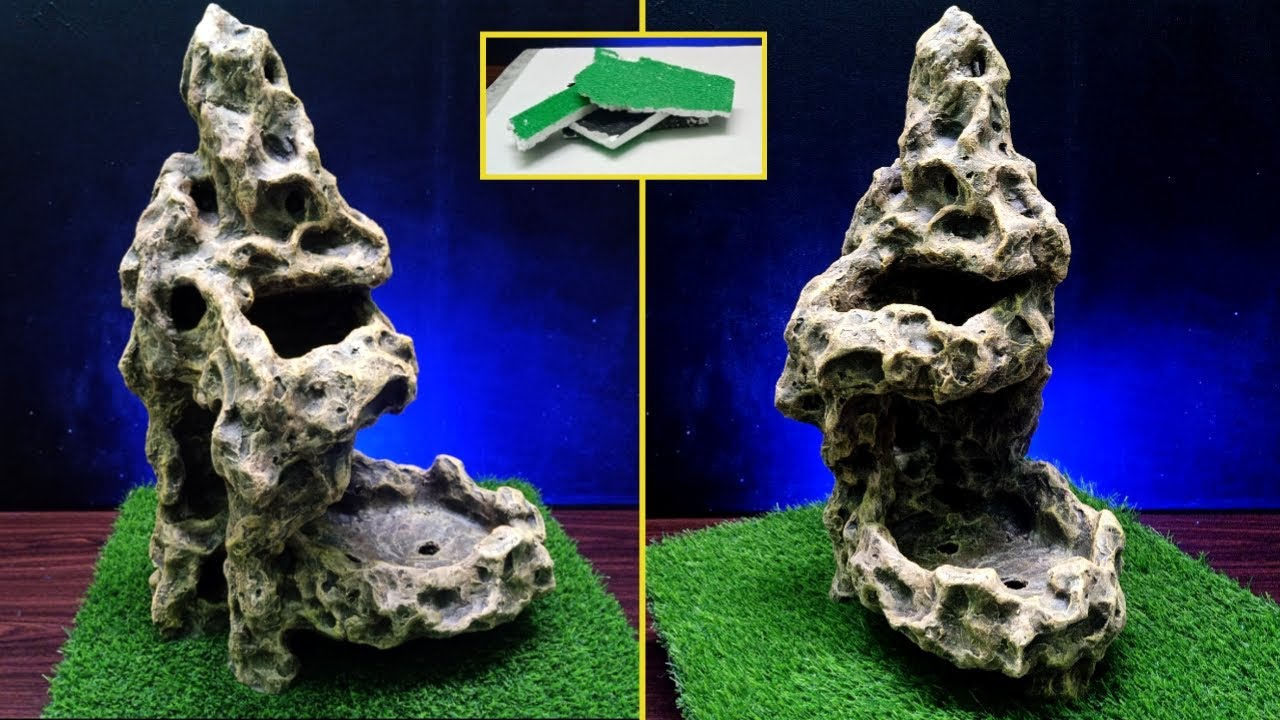 Download awesome rock pot from cement and styrofoam | Pot relief penjing sederhana