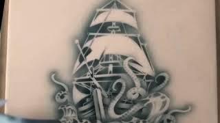 How to do a Kraken Attack Design with Wiser Tattoo Pro Stencils