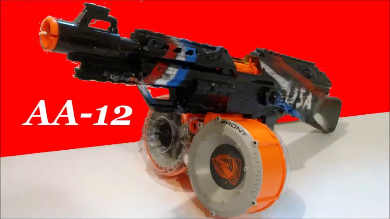 Nerf Aa 12 Mod 70rd Double Drum Mag Monster Youtube