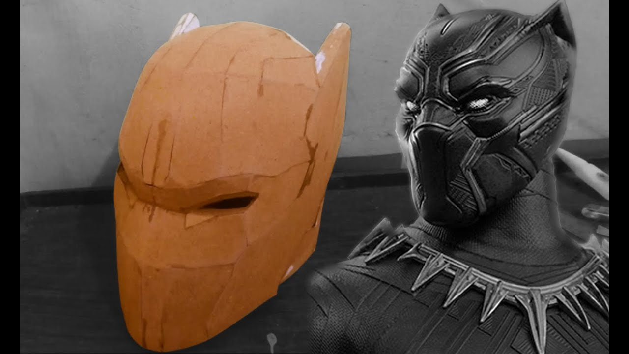 black panther helmet cardboard part 1 youtube